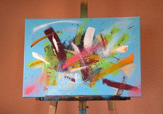 Cuadro abstracto explosión de color.