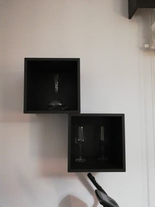 armario cuadrado marrón (2 unidades)
