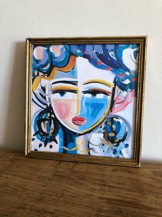 Cuadro dama azul 28 x 28