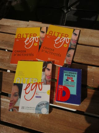 libros de francés y diccionario