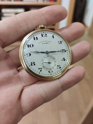 reloj CYMA cronometro de bolsillo dorado