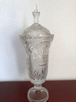 Jarrón bombonera de cristal