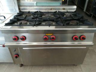 cocina de 6 fogones más horno eurast