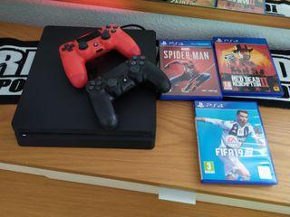 ps4 play station 4 + mandos + juegos