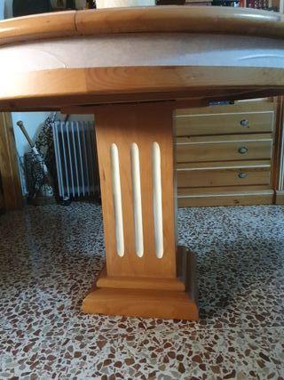 mesa extensible de madera de pino teja