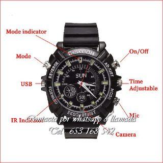 Reloj negro videocamara dispositivo