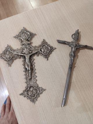 2 crucifijos PLATA maciza cruz antiguo religioso
