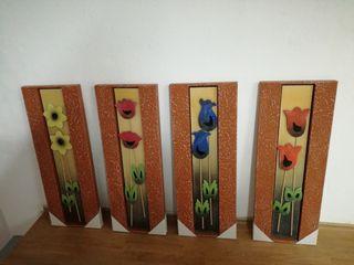 cuadros relieve flores