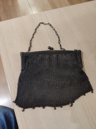 Monedero bolso de metal (plata?) antiguo