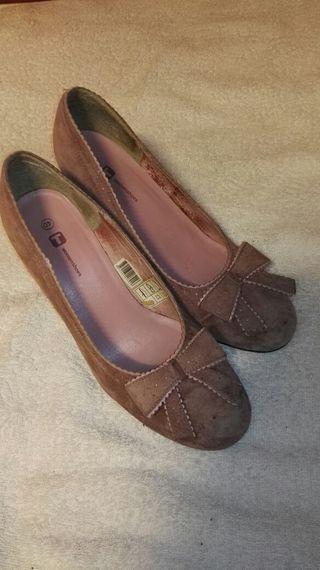 Zapatos de tacon de ante rosa 40/41