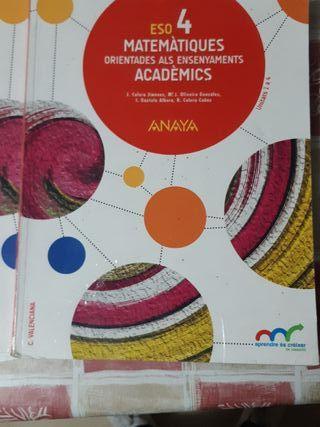 libro 4 Eso matematicas en valenciano
