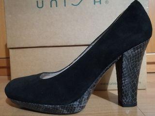 Zapatos salón tacón alto UNISA ante negro