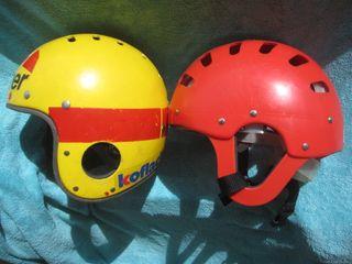 Cascos kayak ROMER Uno rojo y otro amarillo