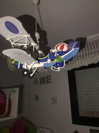 Lámpara infantil avión Mickey Mouse