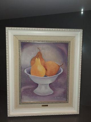 cuadro bodegón de peras