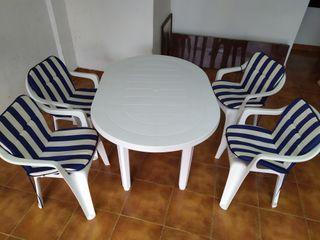 mesa y silla de jardin nuevos