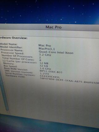 Mac pro 3,2ghz 32gb RAM Quad-Core Intel Xeon