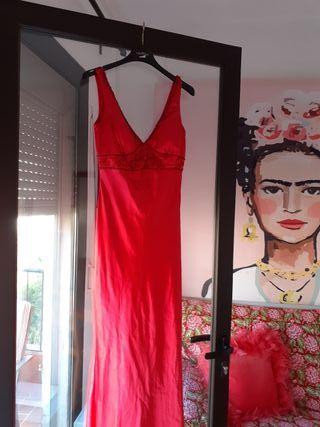 vestido de fiesta de raso de marca!!