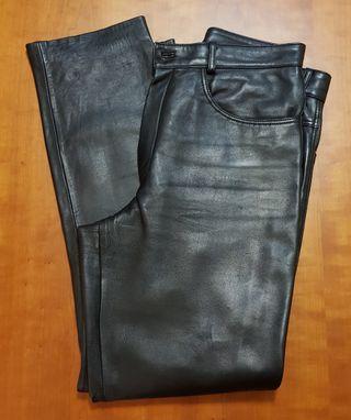 Pantalón de cuero negro mujer T44