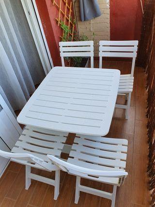 mesa y 4 sillas de jardín terraza