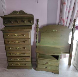Conjunto de habitación de pino. Dormitorio juvenil