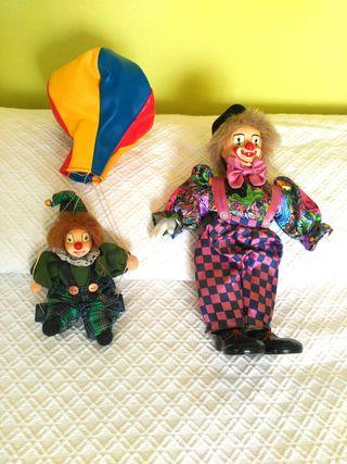 muñecos de porcelana vintage. payasos y espantapáj