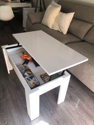 Mesa de centro blanca elevable