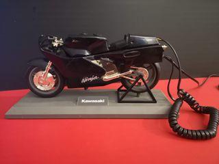Antiguo Teléfono fijo forma moto Kawasaki Ninja.