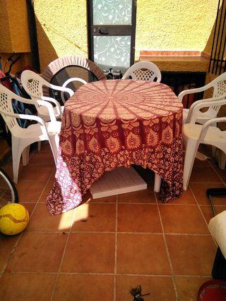 juego de jardín extensible ,5 sillas,4 tumbonas