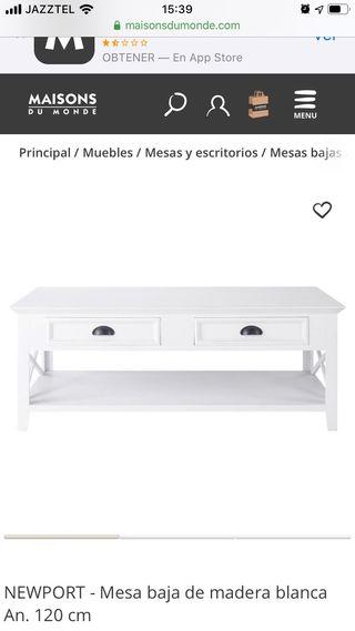 Mesa baja de madera blanca Maisons du Monde