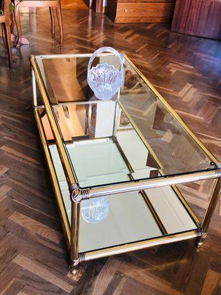 Mesa de centro de cristal + Mesa Auxiliar