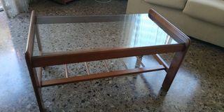 Mesa centro cristal y madera