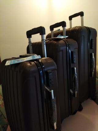 set 3 maletas rigidas nuevas color cacao