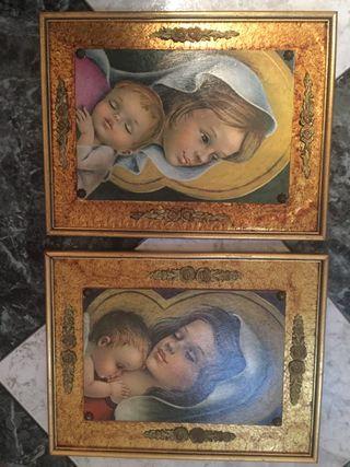 Cuadros vintage virgen y niño antiguos religiosos