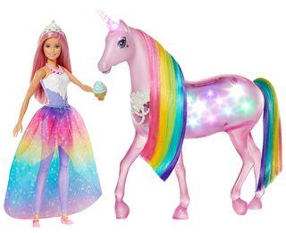 Barbie - Dreamptopia Muñeca pelo rosa y unicornio