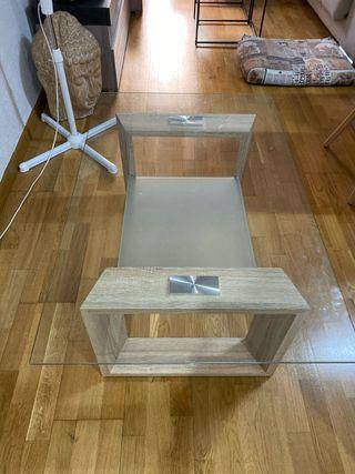 Mesa centro cristal templado y madera