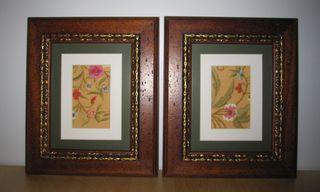 Dos cuadros flores bordados hilo sobre seda