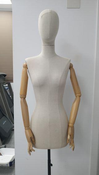 Maniquí mujer tela brazos articulados