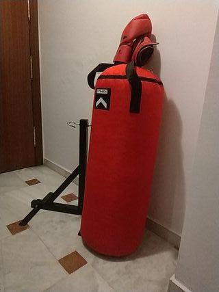 saco de boxeo+soporte+guantes