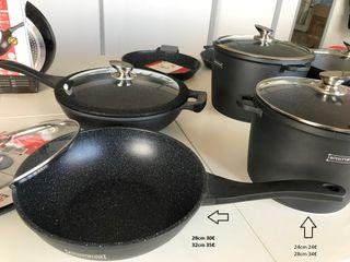 sartén wok resistente honda con Mango anti-calor