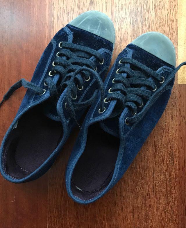 Zapatillas PISAMONAS terciopelo azul oscuro num.36
