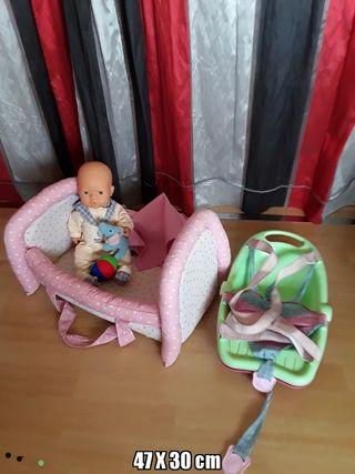 lote cama portabebés y muñeca FALCA con juguetes