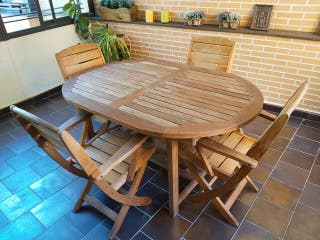 Mesa y 4 sillas jardín de TECA marca Green Design