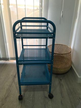 Carrito metal en color azul. Nuevo