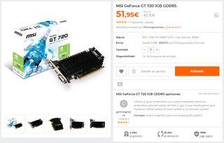 Tarjeta Grafica MSI Nvidia GT720 1Gb
