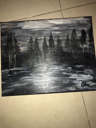 Cuadro blanco y negro original hecho a mano