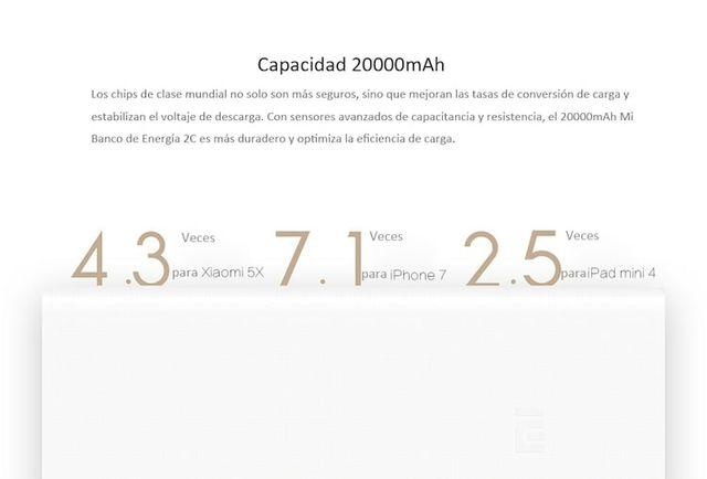 BATERÍA EXTERNA XIAOMI POWER BANK 2C 20000MAH