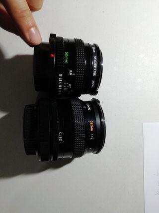 2 objetivos cámara fotos