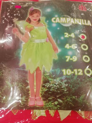 Disfraz Campanilla, 2-3 años. Nuevo