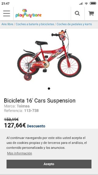 se vende bicicleta infantil de car está muy cuidad